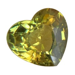 Fine 1.52ct Vivid Green Yellow Australian Sapphire Heart Cut Untreated Gem