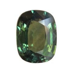 Vivid 1.01ct Green Untreated Australian Sapphire Antique Cushion Cut