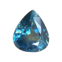 Fine 0.71ct Australian Lagoon Green Blue Sapphire Pear Teardrop Cut Gem