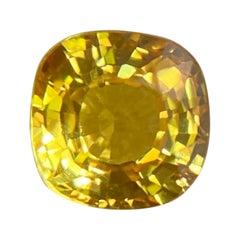 Fine Vivid Yellow Untreated Australian Sapphire 0.64ct Square Cushion Cut