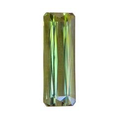 3.39ct Yellowish Green Tourmaline Octagon Emerald Cut Gem