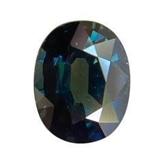 1.34ct Australian Deep Green Sapphire Oval Cut Rare Loose Gem