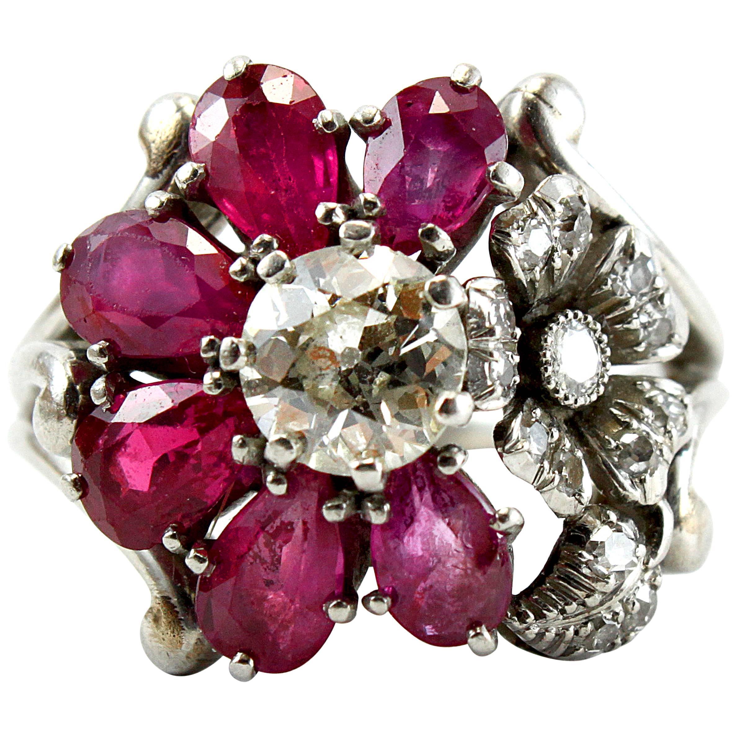 1940s Ruby Diamond Flower Cluster Ring