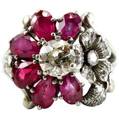 1940s Ruby Diamond Flower Cluster Ring