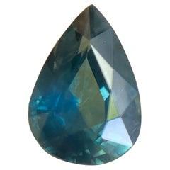 Fine 1.26ct Blue Green Teal Australian Sapphire Pear Teardrop Cut Gem