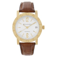 Bvlgari 18k Yellow Gold White Dial Leather Strap Automatic Watch BB33GL
