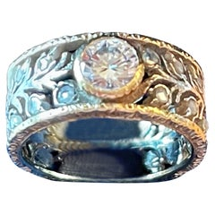 Mario Buccellati Diamond Band Ring 18 K White & Yellow Gold