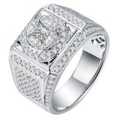 Mens Diamond Ring 18 Karat White Gold