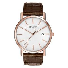 Bulova Classic Rose Gold-Tone Steel White Dial Quartz Mens Watch 98H51
