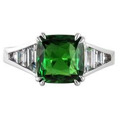 GIA 4.0ctw Natural Vivid Green Tsavorite Cushion & Diamonds Platinum Ring