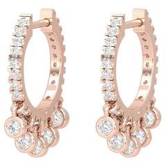 14 Karat Gold Huggie Hoop Shaker Diamond Earrings