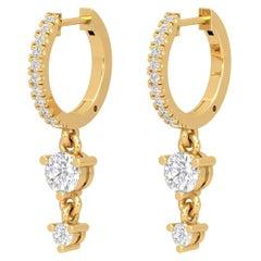 14 Karat Gold Double Drop Diamond Huggie Hoop Earrings