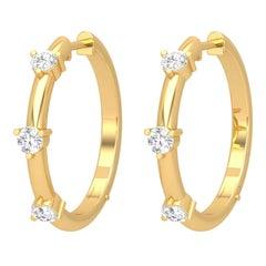 14 Karat Gold Station Diamond Hoop Earrings