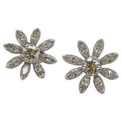 White Gold Marquise & Round Diamond Flower Stud Earrings
