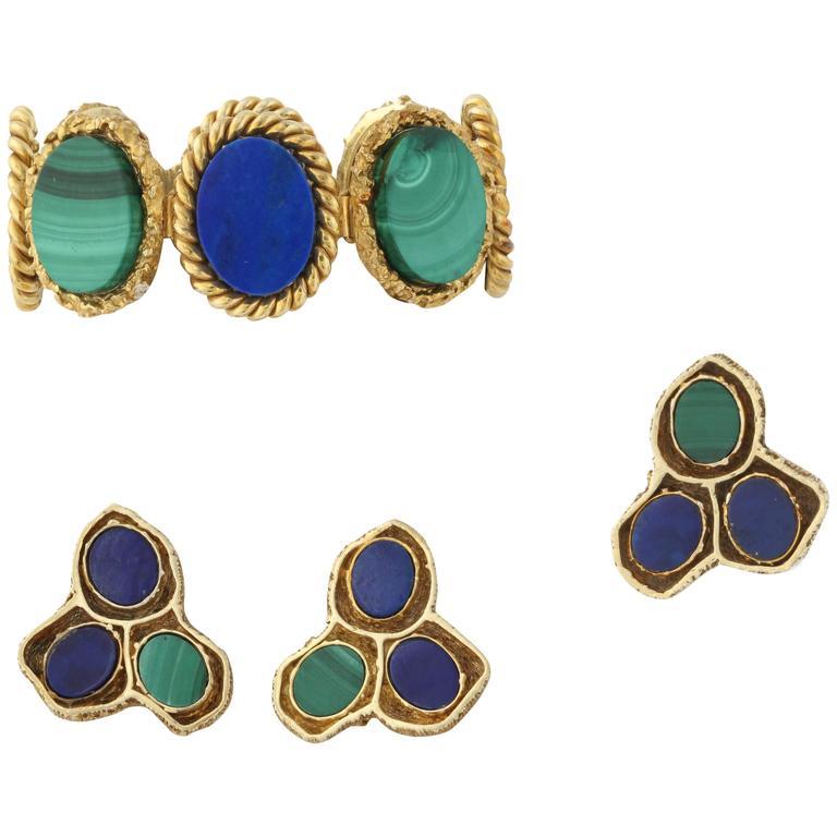 1960s High Quality Oval Cut Lapis Lazuli And Malachite Flexible Link Bracelet