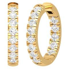 Inside Out Diamond 14 Karat Gold Huggie Hoop Earrings