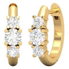 Triple Diamond 14 Karat Gold Huggie Hoop Earrings