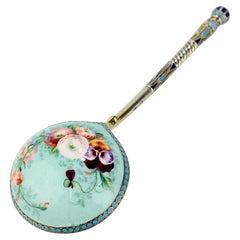 Imperial Russian Silver Cloisonné & Pictorial Enamel Spoon by Ivan Saltykov