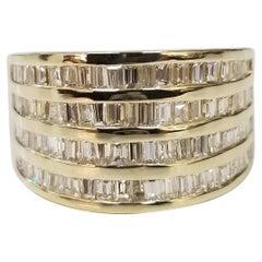 14 Karat Yellow Gold 4 Row Diamond Baguette Channel Set Ring