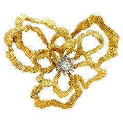 Diamond Flower Brooch in 18 Karat Yellow and White Gold