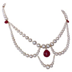 Marina J. Pearl, Ruby and 14k Yellow Gold Victorian Inspired Necklace