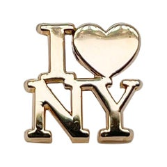 Vintage Tiffany & Co. Vermeil Sterling Silver 'I Love NY' Lapel Pin or Tie Tack