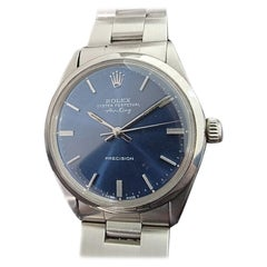 Mens Rolex Oyster Perpetual Air King 5500 Blue Dial Automatic 1960s RA209