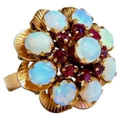 4.50ct Natural Opals Cluster Circular Ring 14kt