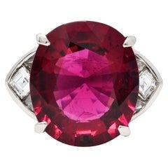 Substantial 13.57 Carats Rubellite Diamond Platinum Statement Ring