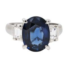 Contemporary 5.12 Carats Sapphire Diamond Platinum Gemstone Ring