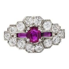 Art Deco 1.84 Carats Diamond Ruby Platinum Dinner Ring