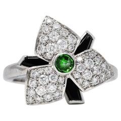 French Cartier Diamond Onyx Garnet 18 Karat White Gold Caresse D' Orchid Ring