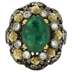 Antique 3 Carat Oval Emerald Dome Cocktail Ring Cabochon Filigree Flower Cluster
