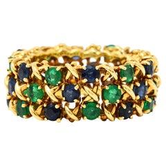 Tiffany & Co. 4.70 Carats Emerald Sapphire 18 Karat Gold Woven X Band Ring