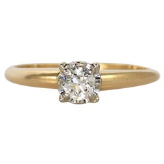 14K Yellow Gold Vintage Diamond Solitaire Ring, .25ct, 2.3g