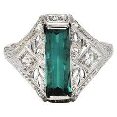 Art Deco Green Tourmaline Diamond Platinum Dinner Ring