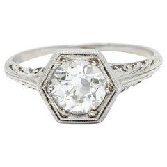 Early Art Deco 0.91 Carat Diamond Platinum Hexagonal Engagement Ring