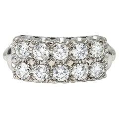 Retro 1.00 Carats Diamond 14 Karat White Gold Double Row Band Ring