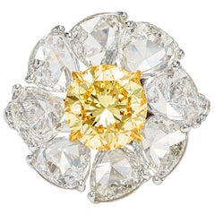 GIA Certified 7.39 Carat Daisy Fancy Yellow and White Diamond Ring in 18k Gold