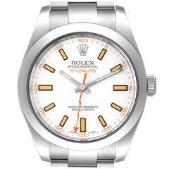 Rolex Milgauss White Dial Stainless Steel Mens Watch 116400