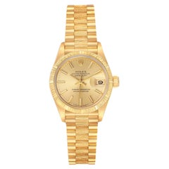 Rolex President Datejust 18K Yellow Gold Bark Finish Ladies Watch 69278