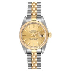 Rolex Datejust Steel Yellow Gold Champagne Dial Ladies Watch 79173