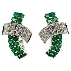 Emerald and Diamond Earclips in 18 Karat White Gold