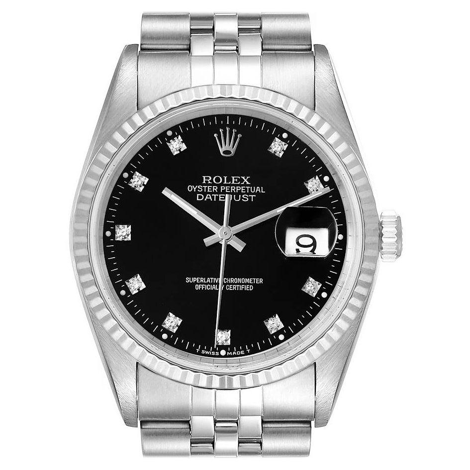 Rolex Datejust Steel White Gold Black Diamond Dial Mens Watch 16234