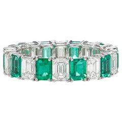 4.23 Carat Zambian Emerald and White Emerald Shape Diamond Eternity Band
