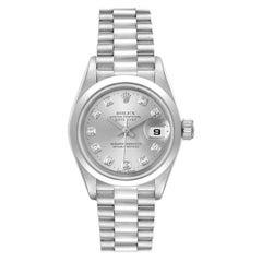 Rolex President Ladies Platinum Silver Diamond Dial Watch 79166 Box Papers