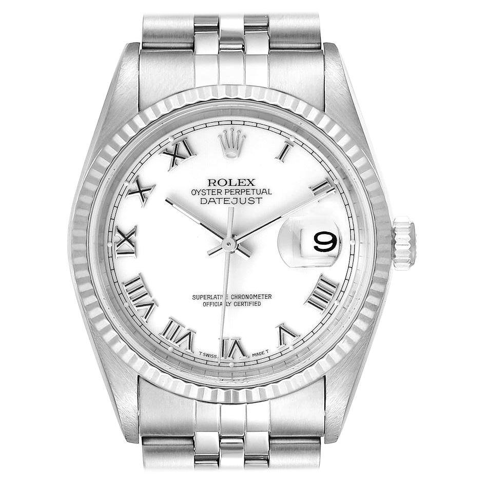 Rolex Datejust Steel White Gold White Dial Jubilee Bracelet Watch 16234