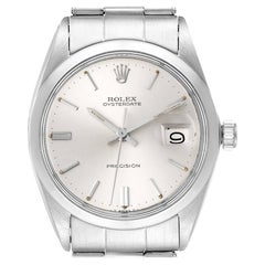 Rolex OysterDate Precision Silver Dial Steel Vintage Watch 6694