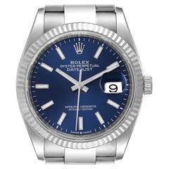 Rolex Datejust Steel White Gold Blue Dial Mens Watch 126234
