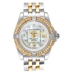 Breitling Cockpit Steel 18K Yellow Gold Diamond Watch D71356 Box Papers